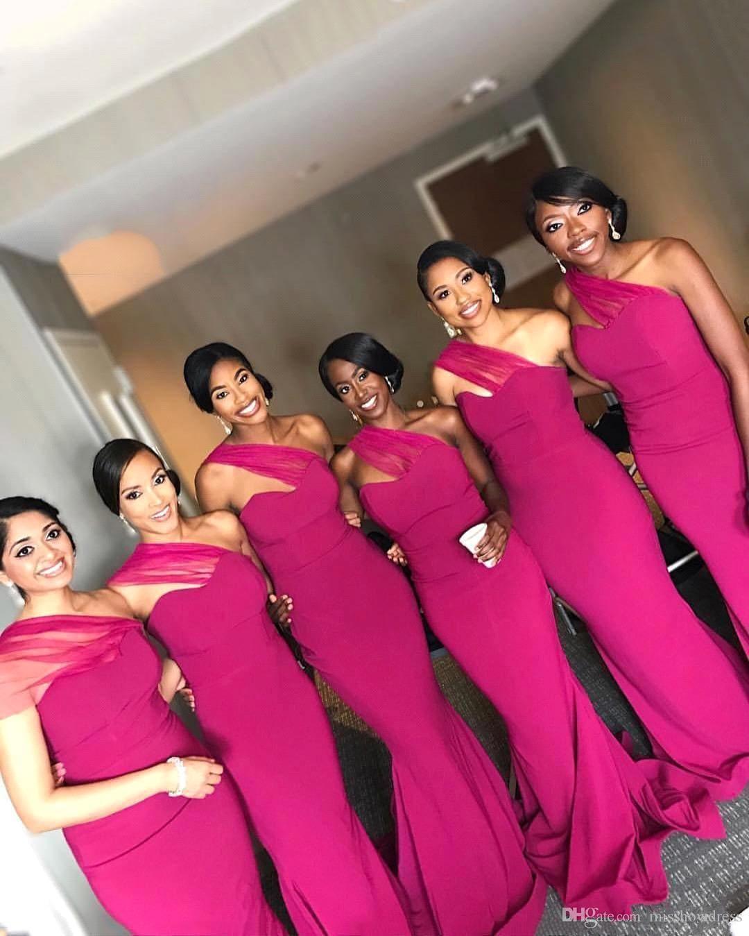 2020 New Fuchsia Mermaid Bridesmaid Dresses Elegant One Shoulder Floor Length Evening Gowns Maid Of Honors Dresses Cheap BM0861