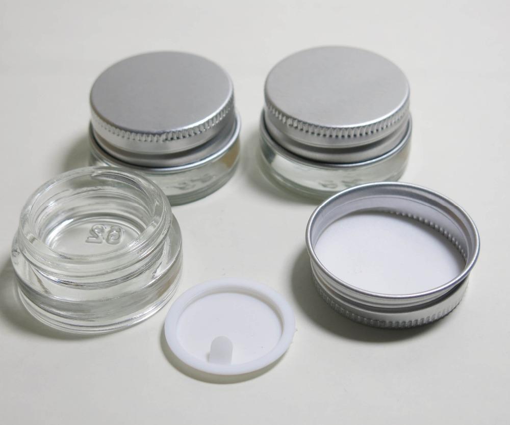 360 x Viagem 5g Transparente pequeno bonito Cream Pot vidro 5 g de vidro Make up Frascos com tampa de alumínio Prata Branco PE Pad
