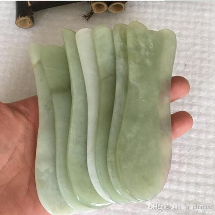 Dropshipping Jade Gua Sha Strumenti Strumenti 100% Stone Natural Guasha Board Scraping Massage Tool Ultra Bordo liscio per il piede posteriore del viso