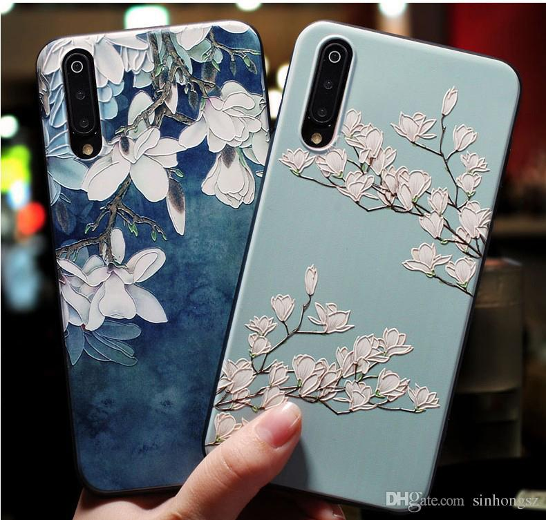 3D Flowers Case For Xiaomi Mi 8 9 5 6 5X Redmi 5 Plus Mi8 Mi9 Mi5 Mi6 Cover Soft Silicone Rubber Cute