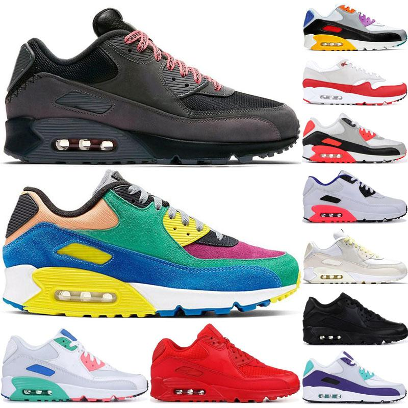 2020 90 OG zapatos corrientes del mens 90s ser verdad Viotech jalea láser fucsia Mixtape aterrizaje en Marte para mujer infrarrojos Entrenadores zapatillas de deporte Airs Tamaño 36-45