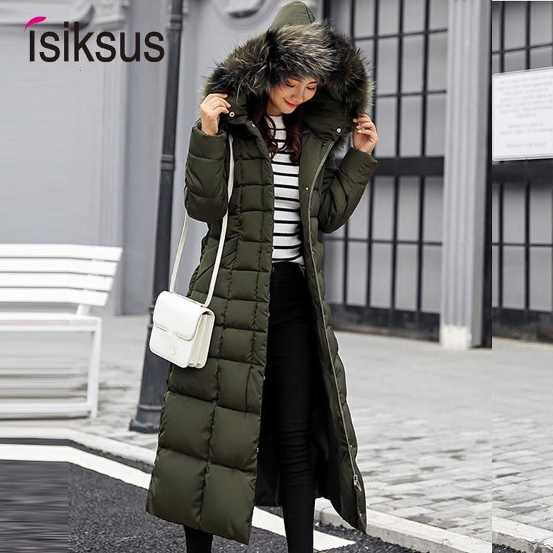 Isiksus Padded Warm Down Jackets Womens Winter Plus Size Long Quilted Black Hooded Fur Coat Jacket 2018 Parkas for Women WP013 DT191024