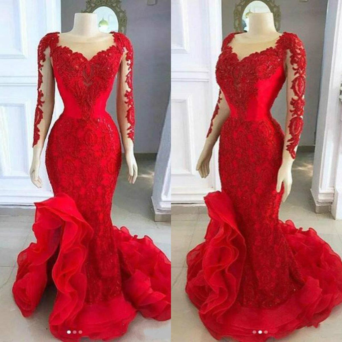 2020 Красной Русалка Вечерних платья Sheer декольте кружево аппликация с длинным рукавом платье с низким Разделить Sweep Поезда Arabic Формальной партии Gowns