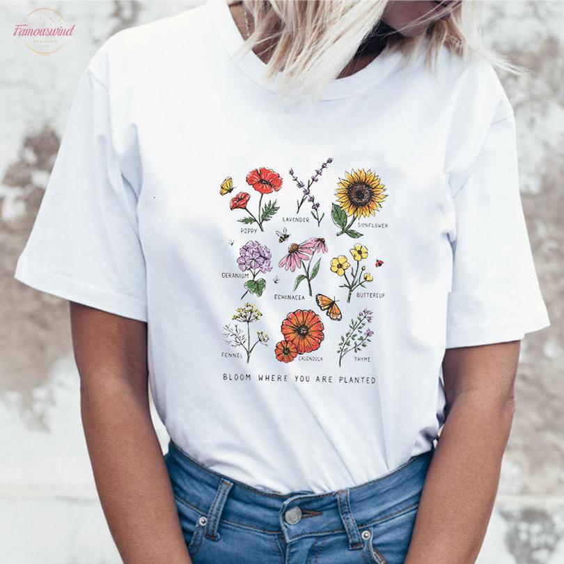 Harajuku Bloom onde você é plantado mulheres camisetas Streetwear manga curta Tops Graphic Tees Botânico Flor O Neck T Shirt 2020