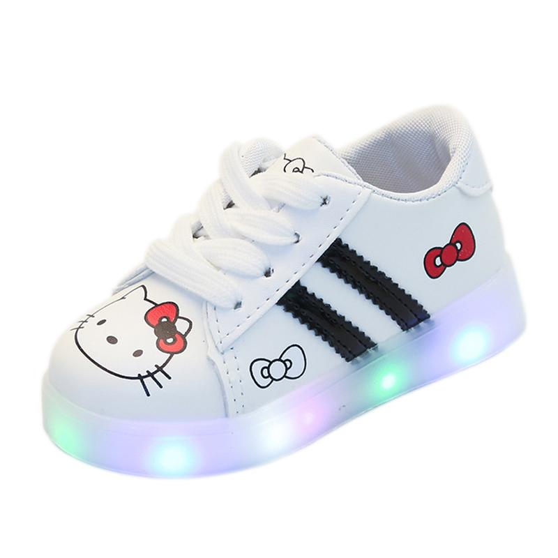 UK Toddler Baby Kids Girls Shoes LED Flashing Trainers Casual Light Up Sneakers