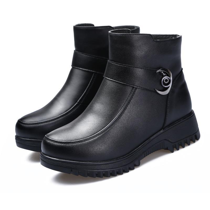 Мода черных ботинок женщин пятка весна осень Шнуровка мягкой кожа платформа обувь женщина партия ботильоны fgb34