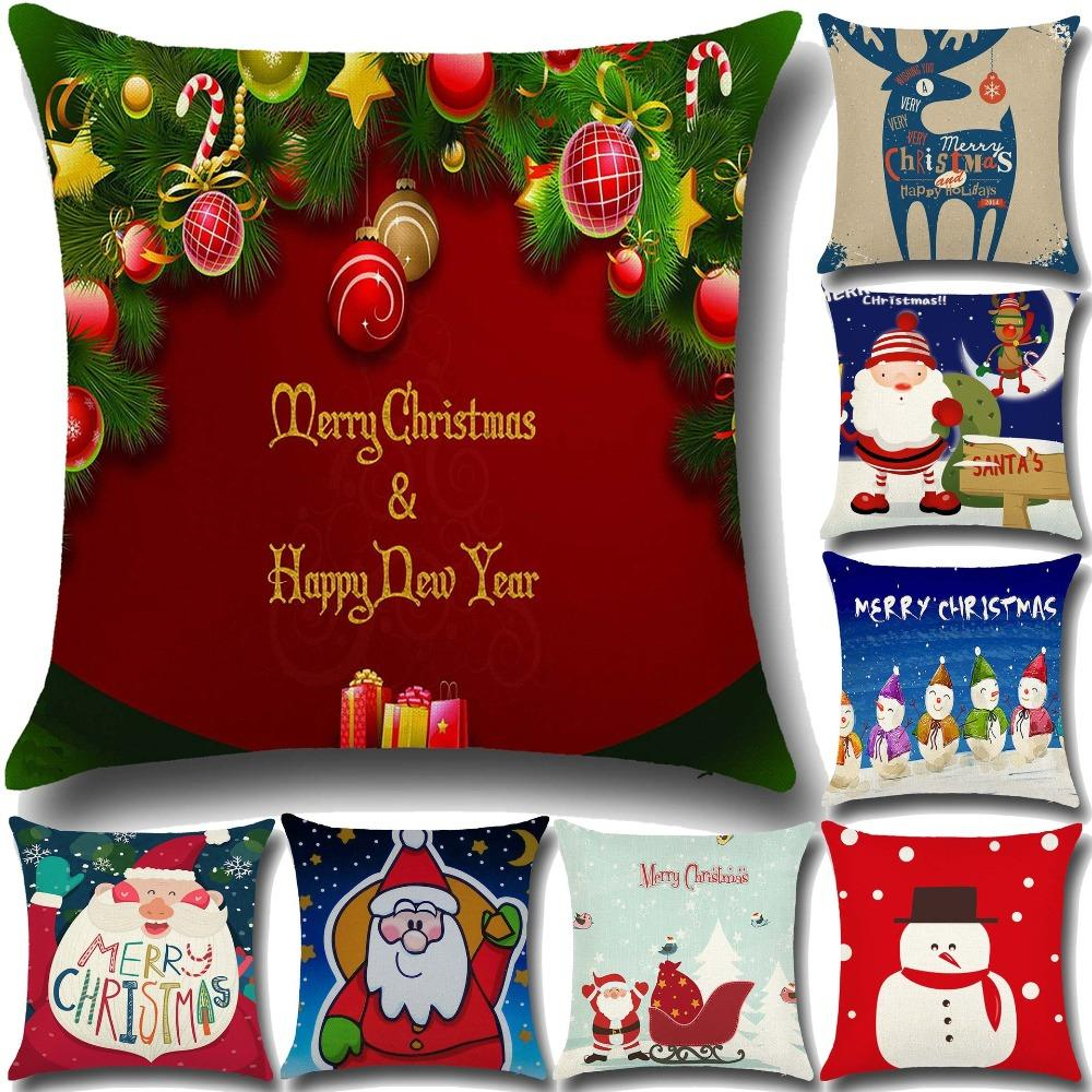 Weihnachten Pillowslip Kissenbezug 45 cm * 45 cm Für Privatanwender Rentier Weihnachtsmann Neujahr Frohe Weihnachten Platz Leinen 6A0188 Kopfkissenbezug