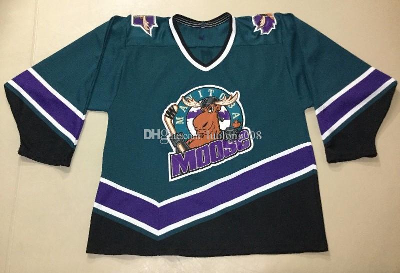 Vintage'90 Moose du Manitoba Minnesota Moose américaine de hockey Jersey broderie Cousu Personnaliser les chandails numéro et nom