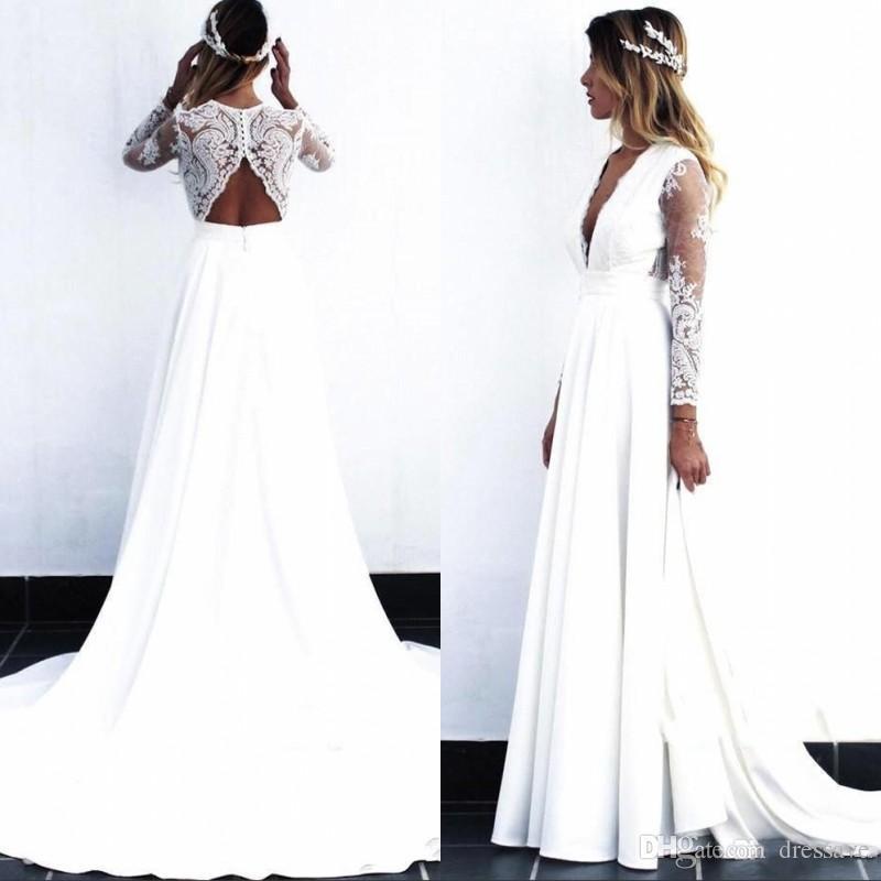 2020 Cheap Lace Bohemian Vestidos do casamento do laço do vintage manga comprida Boho Wedding Dress Open Back vestidos de noiva vestido de noiva