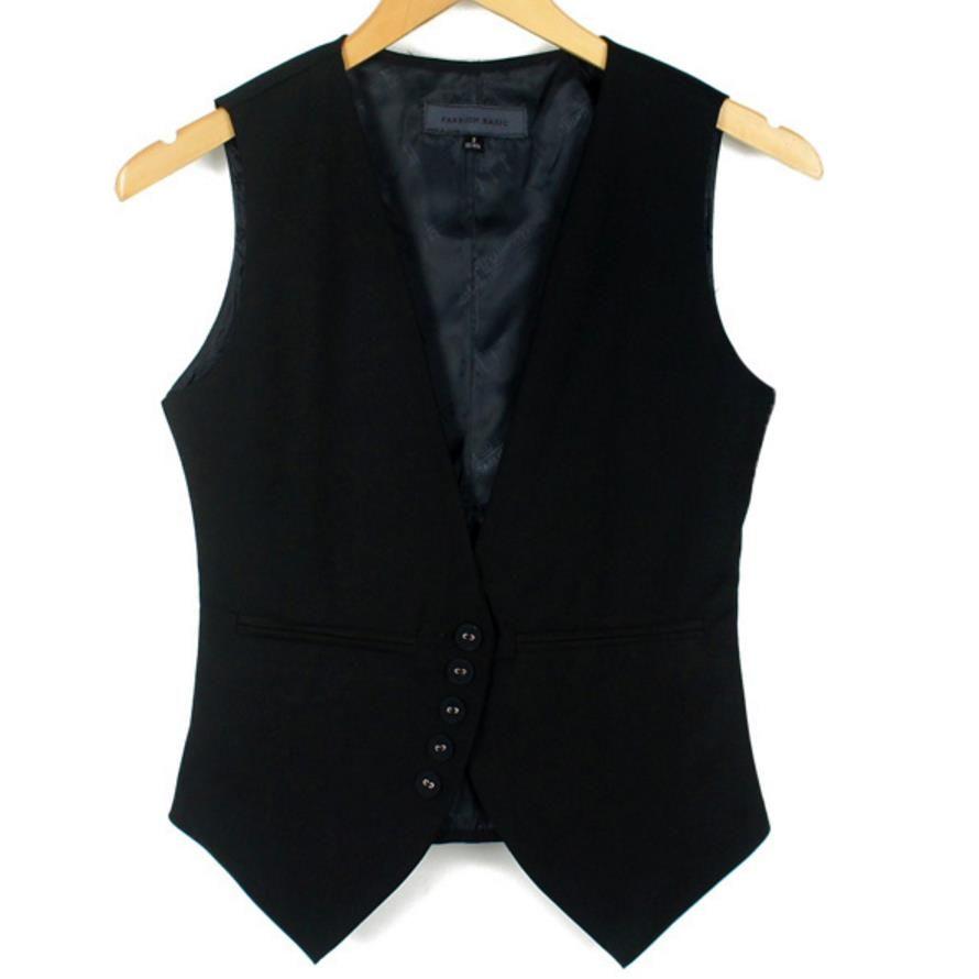 2018 OUTONO curto de gola V Vest Jacket Mulheres mangas Blazer Coletes magro breasted única Plus Size 4XL