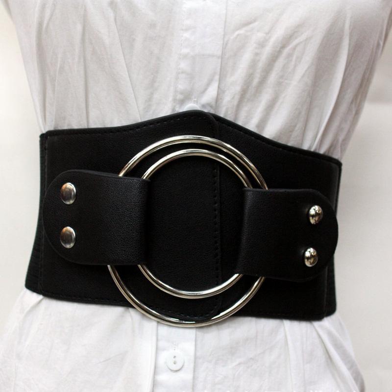 Cintura larga da donna esagerata per abito Due grandi anelli circolari in metallo Cintura elastica in vita Cintura in ecopelle Accessorio cosplay vintage