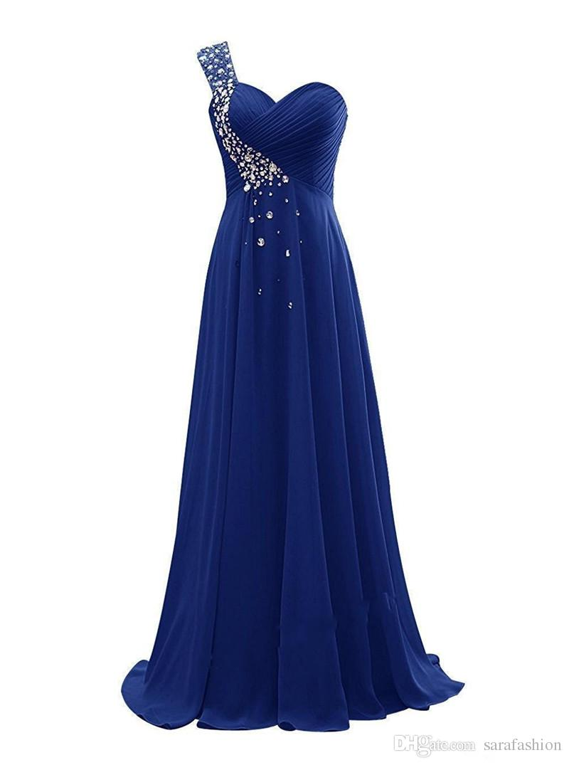 Beaded One Shoulder Evening Dresses 2019 Floor Length Evening Gowns Lace Up Party Dress Purple Royal Blue