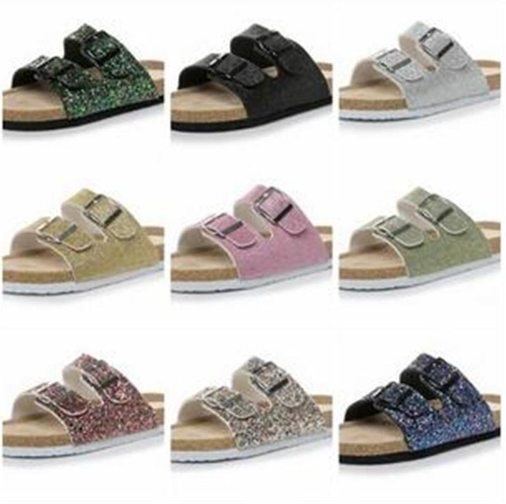 Cork Sandals Mermaid Flip-flops Sequins Sandals Summer Cork Slipper Glitter Sandles Beach Antiskid Slippers Cool Slippers 10 Colors XZYQ152