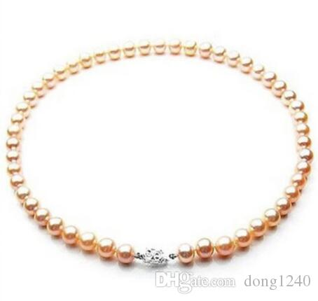 "Hermosa 9-10mm Mar del Sur oro rosa gola de perlas 18 ""Plata"""