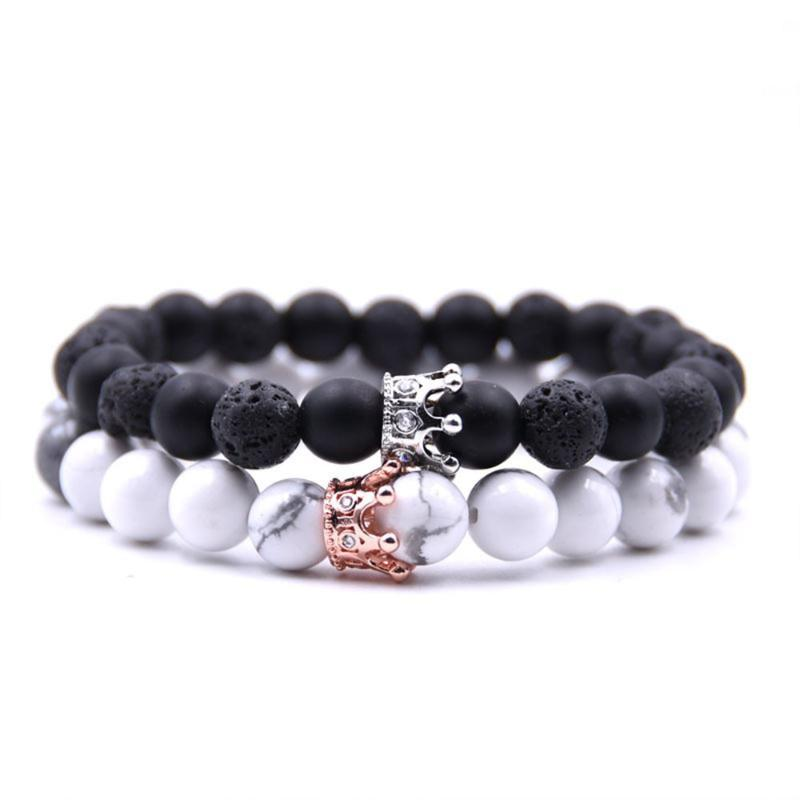 Natural Stone Crown Beads Bracelet For Women Pave Zircon Men Rose Gold Silver Color Stretch Beads Bracelets Couple Jewelry
