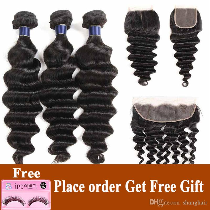 8A Brazilian Straight Virgin Hair Weaves Loose Deep Wave Malaysian Peruvian Human Hair Bundles With 4X4 Lace Closure Or 13x4 Lace Frontal
