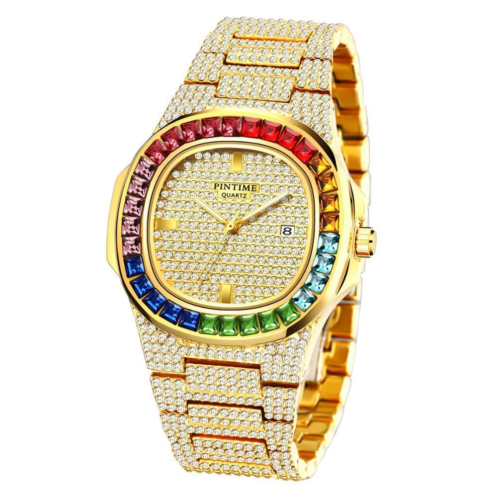 Herrenuhren Top Diamant Iced Out Business Calendar Quarz-Uhr-Mann Wasserdicht relogio masculino zegarek Meski