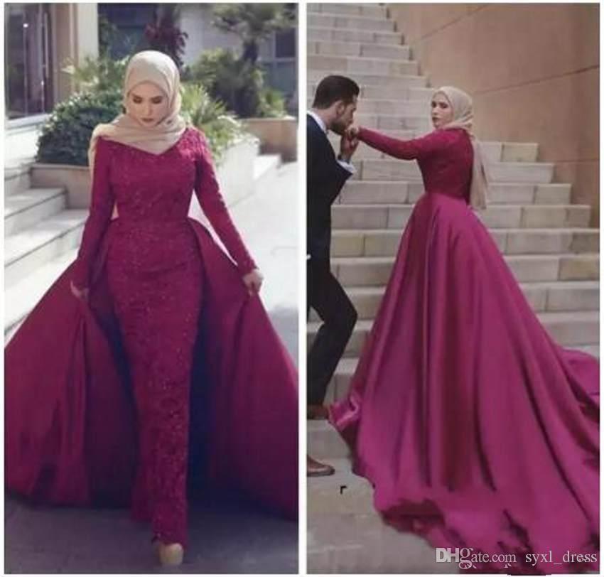 2019 사우디 아라비아의 높은 목 Prom 파티 드레스 파티 복장 분리 가능한 기차 저녁 파티 미식가 유명 인사 드레스와 섹시한 이슬람 복장