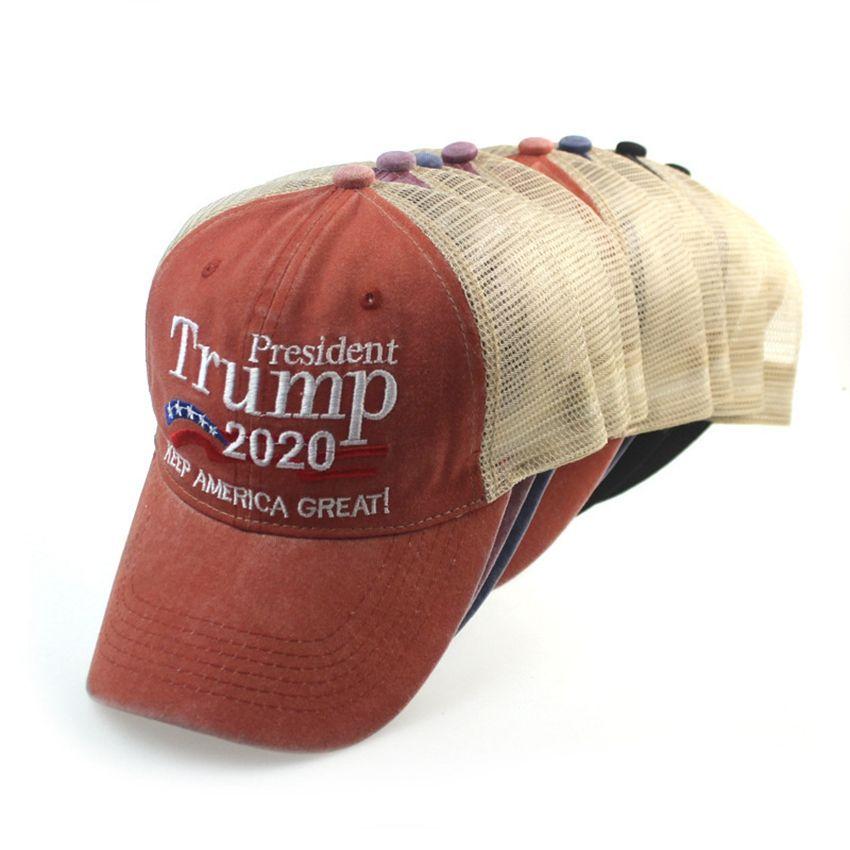 president Trump 2020 Hat Keep America Great Baseball Cap washed outdoor hat Republican President Mesh sports cap KKA7867