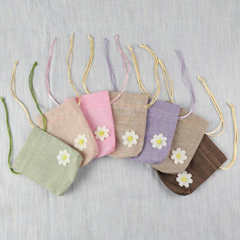 10 * 14cm 작은 데이지 꽃 Drawstring 빔 입 린넨 - 씨앗을위한 대나무 숯 향 주머니 가방에 대 한 마른 꽃