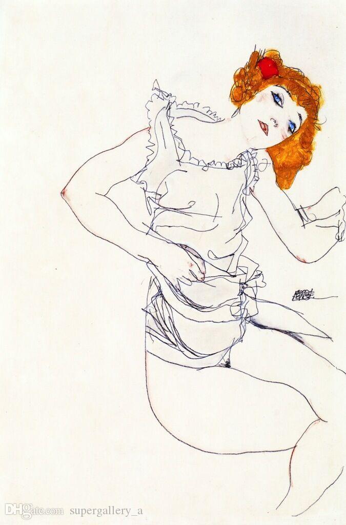 Блондинка в нижнем белье от Egon Schiele Home Wall Art Decor Ручная роспись HD Печать на холсте Wall Art Холст Картинки 190906