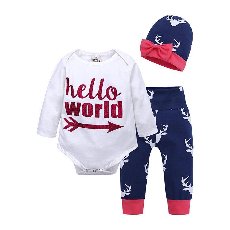 Natal Recém-nascido Bebé Rapazes Meninas Roupas Impresso cervos superior do algodão Romper Pants Leggings Roupas Roupa de Bebé Roupa Define 0-24M
