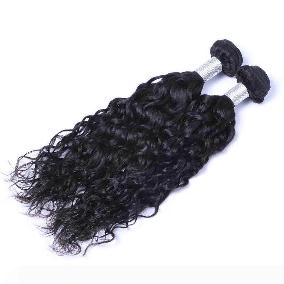 Indian Virgin Human Hair Natural Water Wave Unprocessed Remy Hair Weaves Double Wefts 100g Bundle 2bundle lot Can be Dyed Bleached