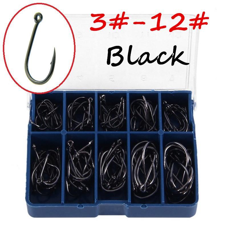 100шт / 1 коробка 10 размеров 3#-12# Ise крюк высокоуглеродистая сталь черный рыболовные крючки синий ящик BL_46