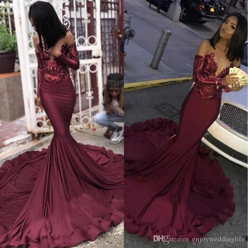 Maroon Borgonha Prom Vestidos 2020 Mermaid Illusion Lantejoulas Lace Top Black Girls 'Plus Size Pageant Noite Formal Party Vestidos BC1250