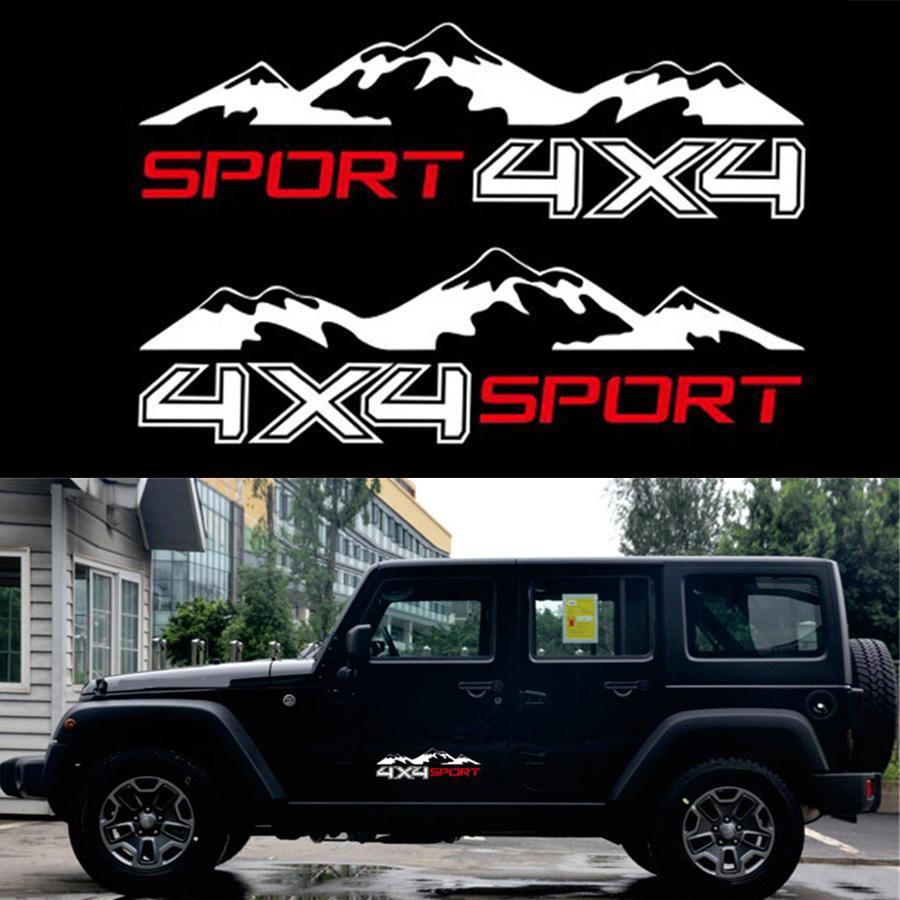 지프 픽업에 대 한 2pc 흰색 4 x 4 산 자동차 스티커 그래픽 비닐 D-MAX Navara 트럭 데 칼 SUV