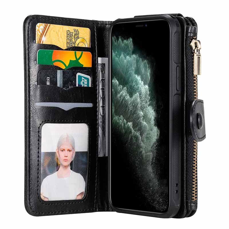 Zipper Titular Carteira iPhone Slots Capa Para Caso 11 Pro Max bolso destacável Protecção Magnetic Folio PU couro para o iPhone XS XR X