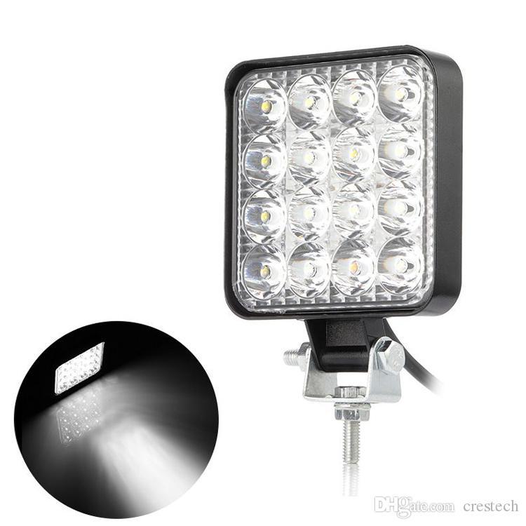 48W 4,3 pollici Quadrato LED Lampada a LED Flood Light Offroad Driving Lampada da lavoro ausiliarie Fendinebbia per Jeep Car Truck Tractor Moto Boat