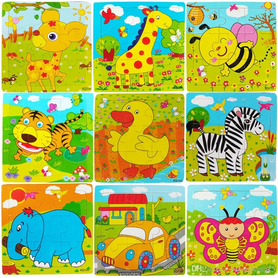 New Wooden 9 pieces Jigsaw Puzzle Kindergarten Baby Toys Children Animals Wood 3D Puzzles Kids Building Blocks Funny Game Educational Toys