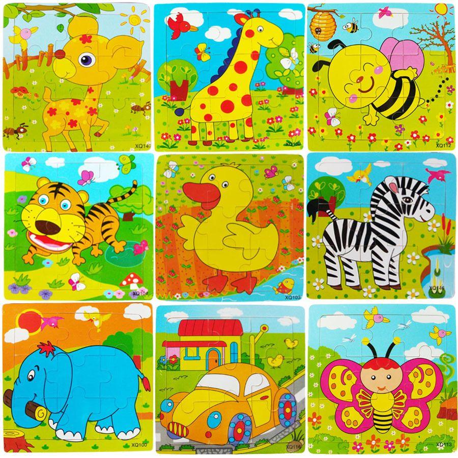 새로운 나무 9 개 조각 직소 퍼즐 유치원 아기 장난감 어린이 동물 나무 3D 퍼즐 어린이 빌딩 블록 재미 게임 교육 장난감