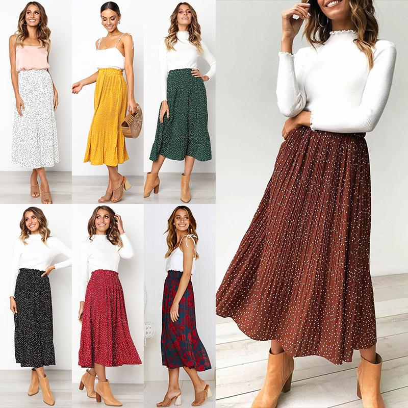 Cuilangxuan 299900 # 7 색 S-XL 도트 플로랄 프린트 Pleated Midi Skirt 여성 탄성 높은 허리 측면 주머니 스커트