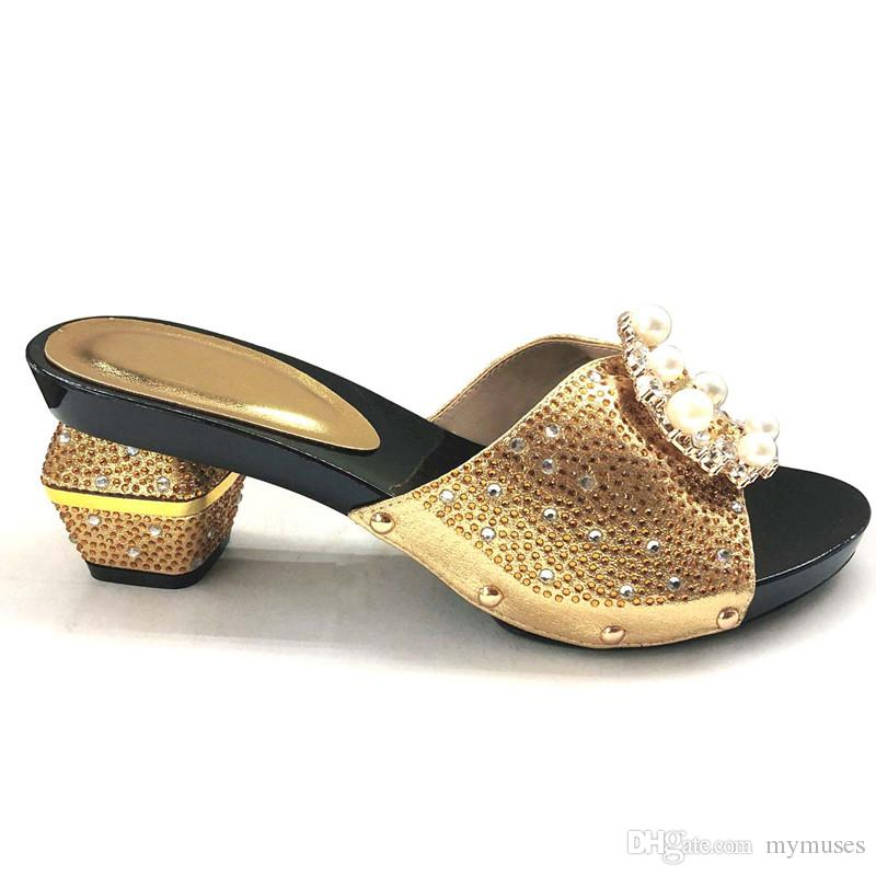 2018 New Gold Color Italian Lady Sexy High Heels Pumps Wedding Dress High Heels Italian Design African Sandals Shoes for Party