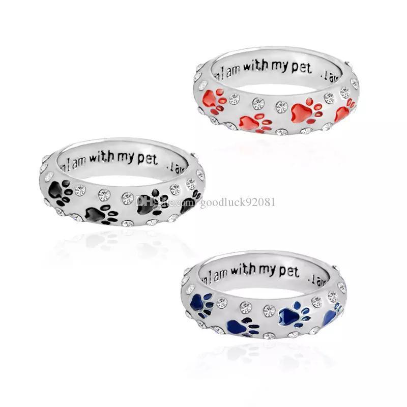 패션 커플 언제 내가 내 애완 동물과 함께있어 완벽한 편지 라인 석 반지 Jewlery 소유자와 애완 동물 강아지 Paw 링 쥬얼리