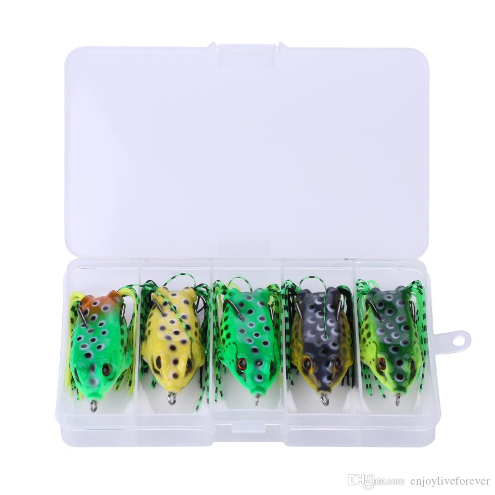 5 Colos Box Package Snakehead Ray Frog Lures 6cm 12g Top water Artificial Minnow Crankbaits Double Hooks Ray Frog Soft Fishing Bait