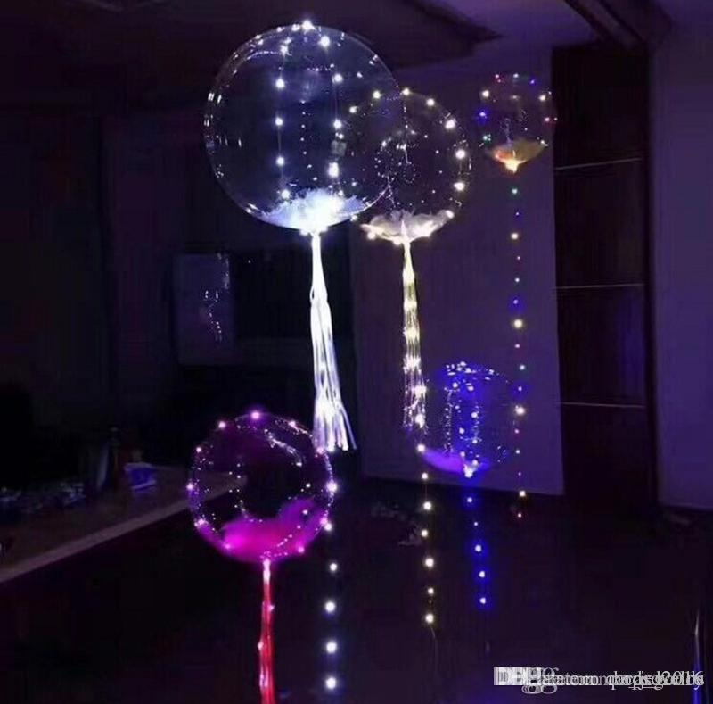 18 inç Temizle Folyo Helyum Bobo Balonlar ile Bakır LED Balon Bar Dize Işık Yaratıcı Balon Doğum Günü Düğün Noel Partisi için
