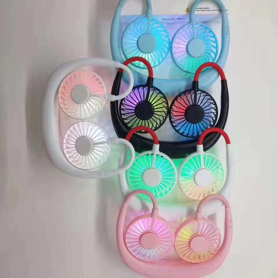 Yeni Mini USB Işık Ile Taşınabilir Fan Boyun Fan Boyun Bant Ile Şarj Edilebilir Pil Küçük Danışma Hayranları El Küçük Fan