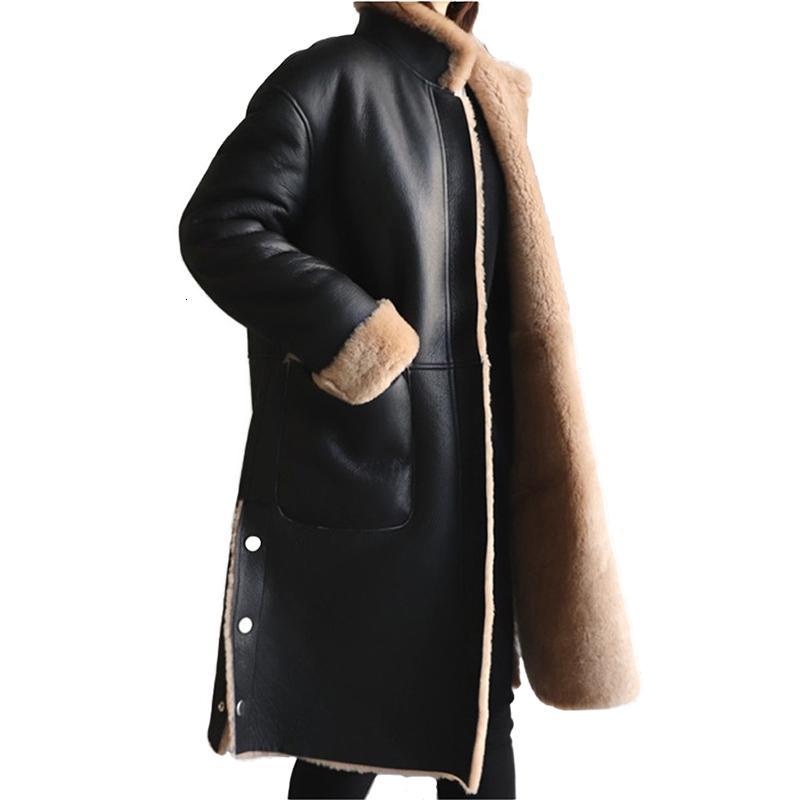 Inverno donne giacca di pelle lambswool cappotto più di formato 5XL affollamento addensare caldo PU femminile cappotto di pelle Entrambe le parti possono essere worn2325 T191101