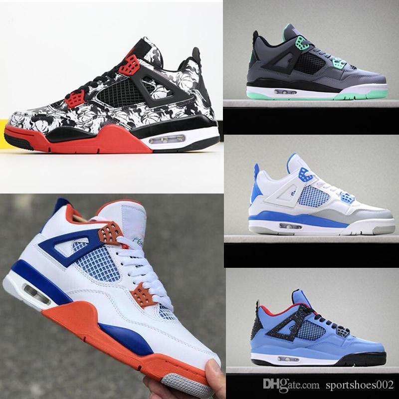 Escoge día 4 de deporte zapatos para hombre negro se divierte la goma zapatos del diseñador de tatuajes rojos de gimnasio Chicago Navy medianoche 4s de lujo zapatos deportivos