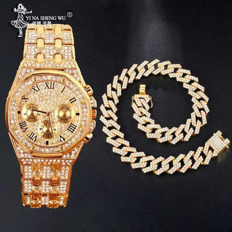 Hip Hop ожерелья Часы Combite Набор Золото Серебро Тяжелое Полный Iced Out Асфальтовая Стразы кубинский цепи CZ Bling Мужчины рэппер ювелирные изделия