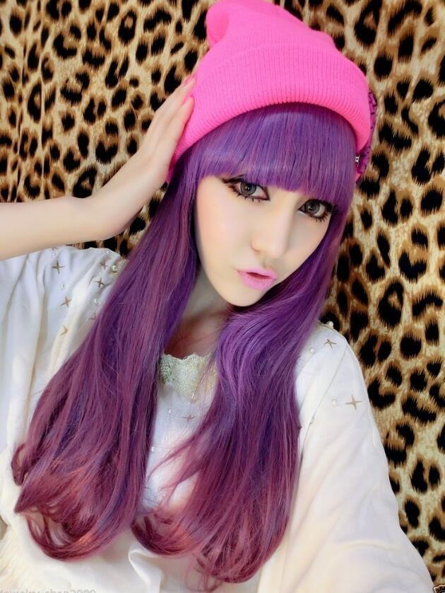 WIG LL NEW COS Cosplay gratis LOLITA Purple Gradient Color resistente al calor peluca larga