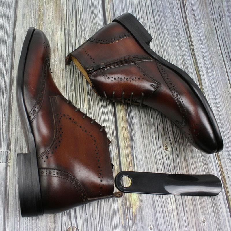 Mens Stivaletti vera pelle in base Stivali uomo modello con lacci e punta Zip scarpe da uomo di High Top Oxford