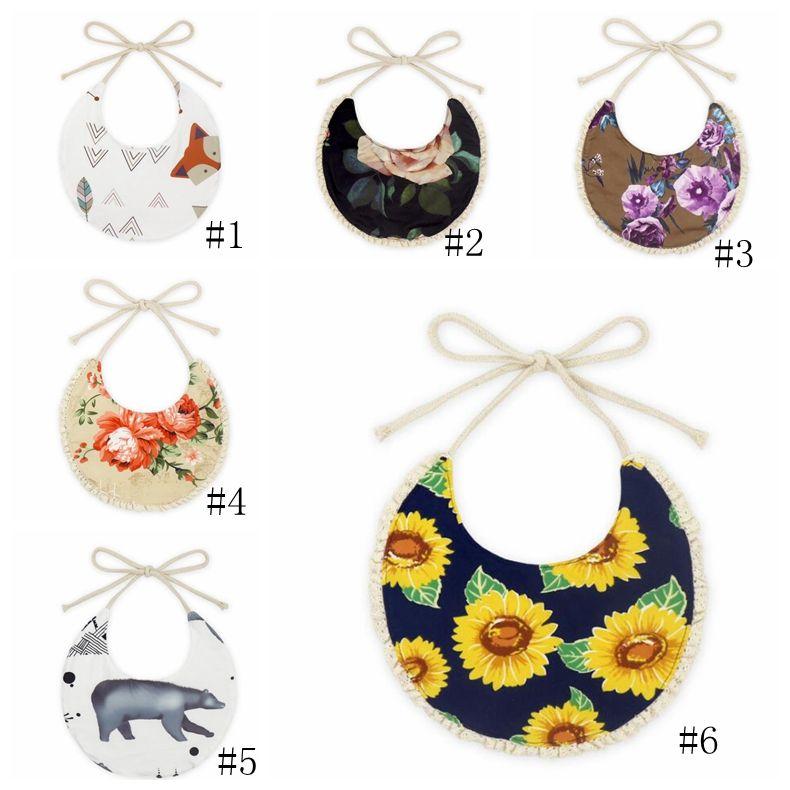 6 estilos bebê toalhas recém-nascido arrota roupas menino menina designer roupas goflower triângulo recém-nascido turbante bibs cachecol gga3365-1