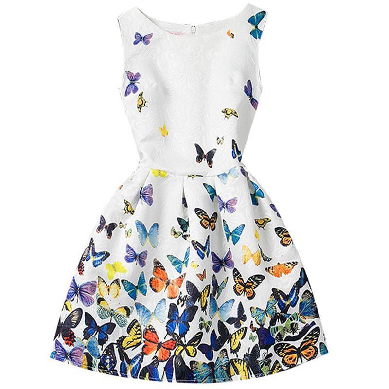 2019 Summer Dresses For Girl Butterfly Flower Sleeveless Formal Girl Dresses Teenagers Party Dress vestido infantil age 9 11 12