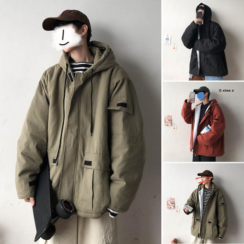 Winter Lammjacke für Herren warm starke Mode Parka Männer Normallack beiläufig mit Kapuze Mantel Man Wild losen Baumwoll Tooling Jacke