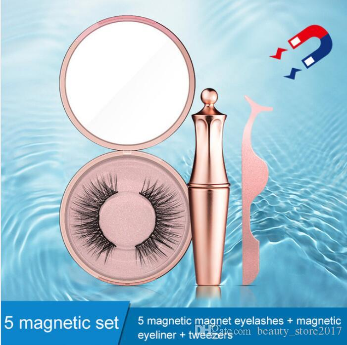 Newest Magnetic Eyeliner & Magnetic Eyeashes Tweezer kit Waterproof Long Lasting Eyeliner False Eyelashes Gift Packaging Box