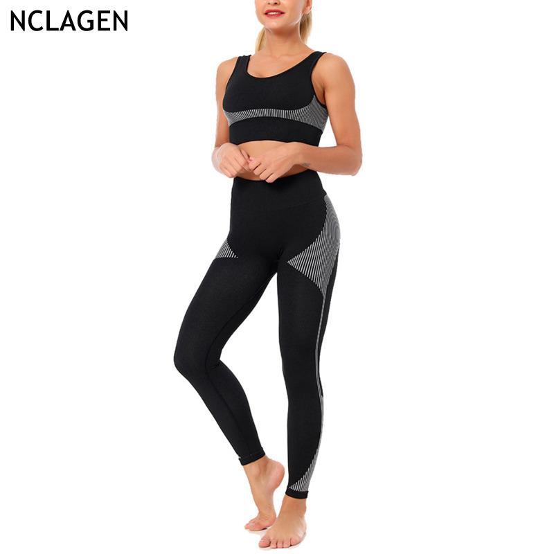 Yoga Set 2 peças Suit Mulheres Treino Academia Bra calças Workout roupas de ginástica perneiras e Top elástico Sportswear NCLAGEN